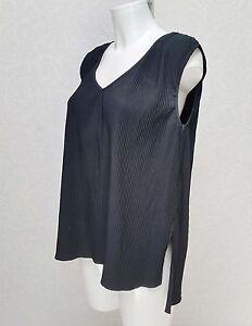 NEXT-black-textured-crinkle-pleated-Sleeveless-V-neck-Top-blouse-tunic-size-10