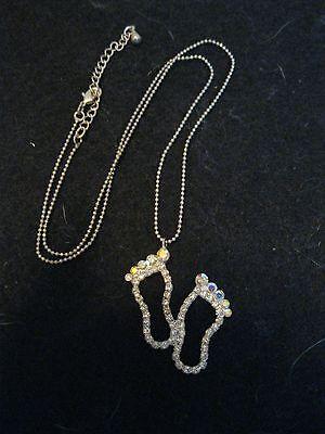 """Rhinestone Footprints Feet Silver Tone Necklace 18-20"""""""