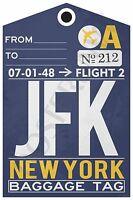 Jfk - York Airport Baggage Tag - Travel Poster (tr482)