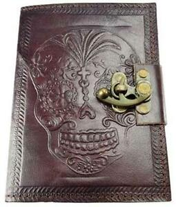 Locking-Leather-Bound-DAY-OF-THE-DEAD-Book-of-Shadows-Journal-or-Diary