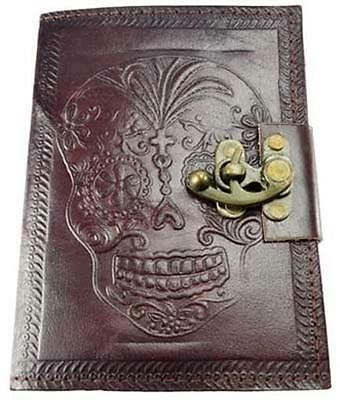 Locking Leather Bound DAY OF THE DEAD Book of Shadows, Journal, or Diary!