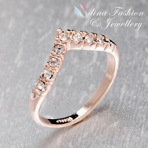 18K-Rose-Gold-Plated-Simulated-Diamond-Exquisite-Slim-Letter-V-Ring
