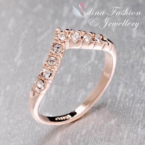 18Ct Rose Gold Plated Simulated Diamonds Exquisite little Letter V  Ring