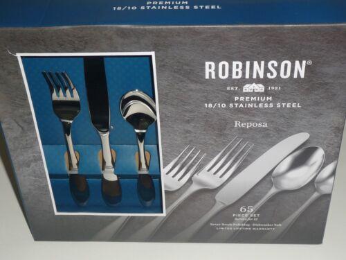 Robinson *REPOSA* 65-PC Flatware Set SERVICE FOR 12-18//10 Stainless Steel NIB