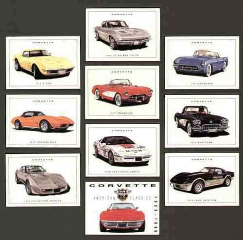 Roadster Sting Ray T-Top Convertible CORVETTE 1953-88 Collectors Card Set