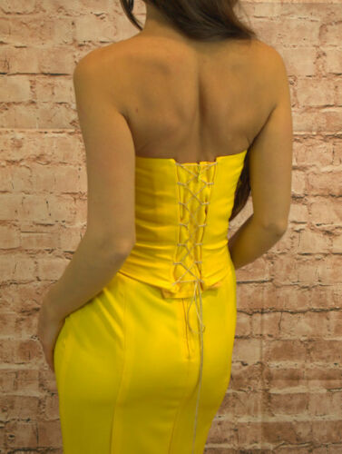 36 Zweiteiler Peplum Corsage Damen Oberteil Rock Kleid gelb rose Gr