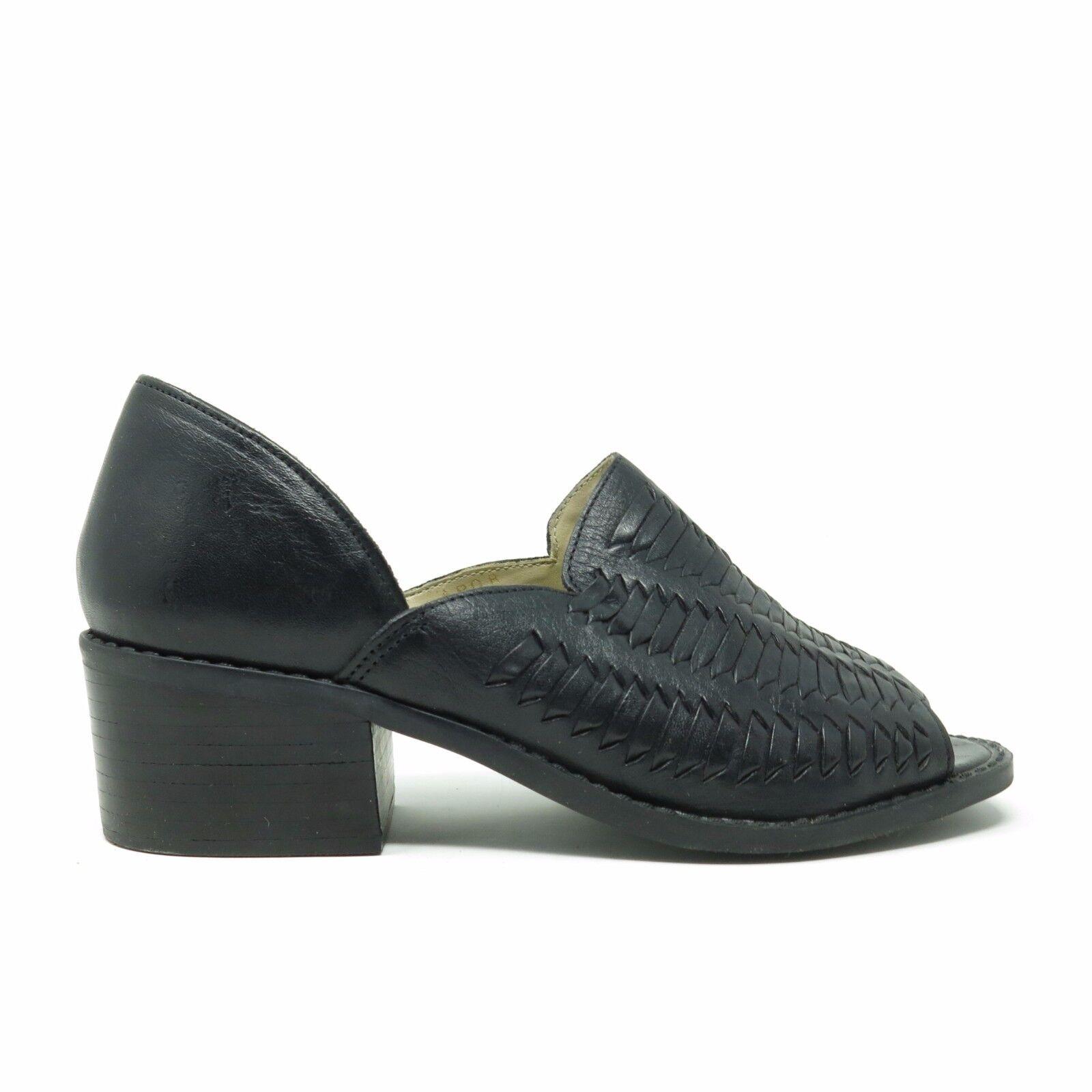 Vtg 90's Woven Black Leather Minimalist Peep Toe Cutout Ankle Bootie Sandals 7.5
