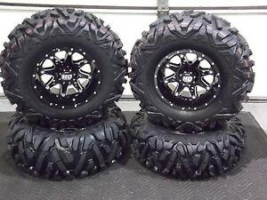 "CAN AM OUTLANDER 500   25/"" QUADKING ATV TIRES SET 4-25X8-12 25X10-12  BIGGHORN"
