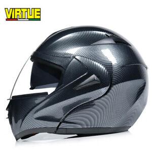 DOT Modular Motorcycle Helmet Flip Up Full Face Clear Visor Carbon Fiber Size L