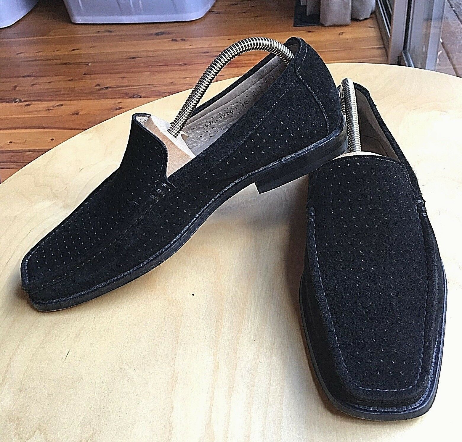 L STONEY MENS SUEDE LOAFERS SHOES SIZE 8.5 MADE IN SPAIN