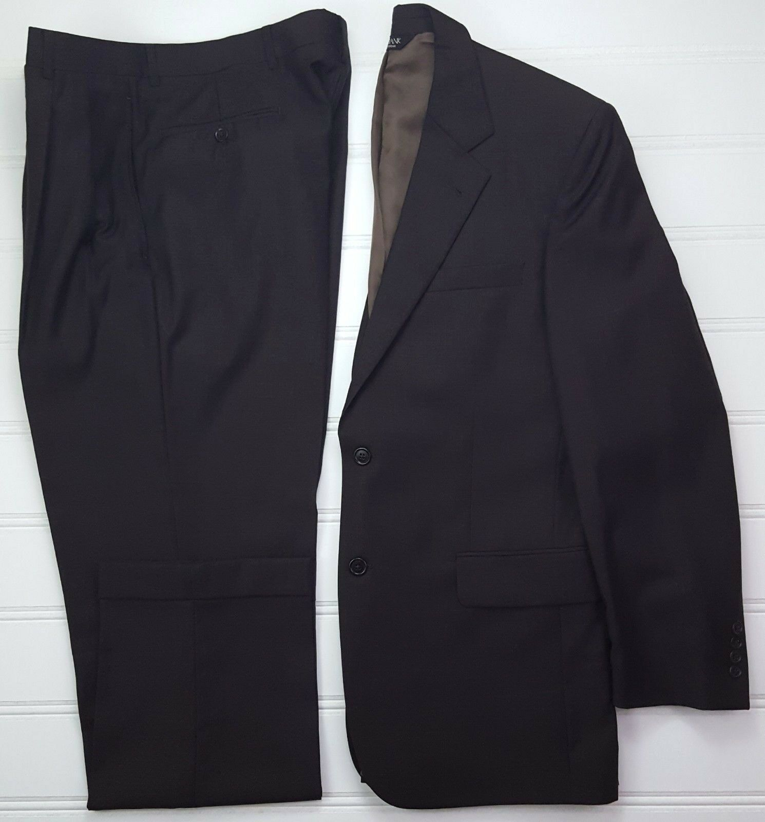 Jos A Bank 40R Suit Brown Nailhead Signature Collection 2 Button Wool Bemberg Sz