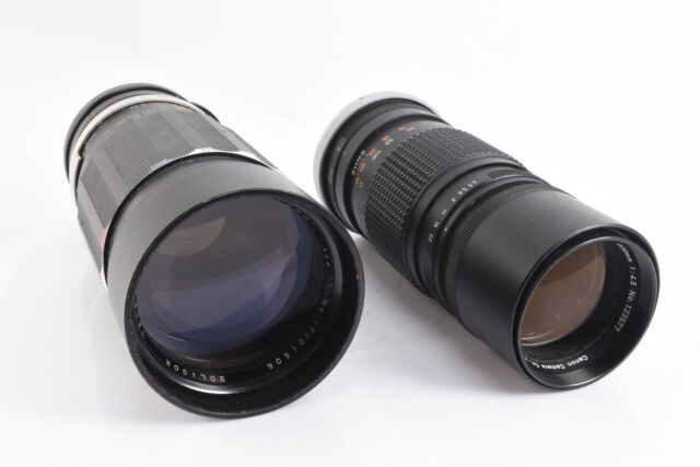 Vintage Lot of 2 Manual Focus Canon FL Camera Lenses PARTS OR REPAIR V72