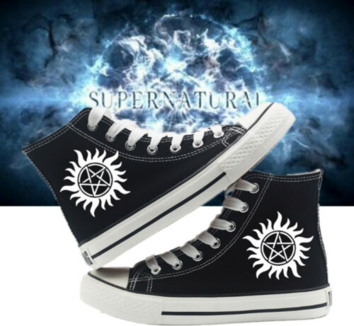Supernatural Logo Lace Up Canvas Shoes High Ankle Unisex Sneakers