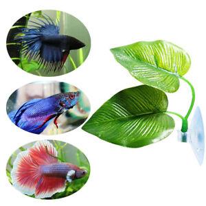 Aquarium-Artificial-Plant-Leaf-Hammock-Fish-Betta-Fish-Tank-Spawning-Rest-Lea-yx