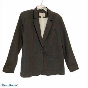 Lucky-Brand-Size-XL-Boyfriend-Blazer-Gray-Oversized-Linen-Blend-Button-Up-Lined