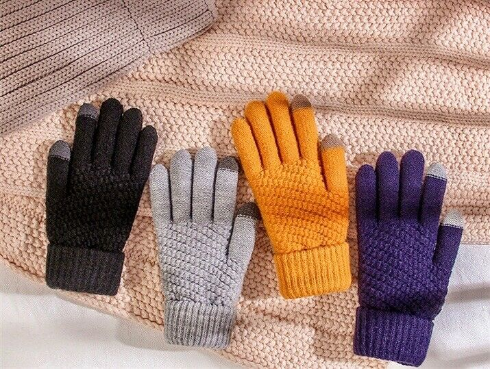 Stretch Phone Touch Warm Gloves Touch Screen Full Finger Mittens Wool Knitted