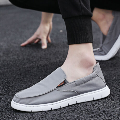 Mens Canvas Driving Moccasins Shoes Slip on Pumps Loafers Flats Comfy Casual B