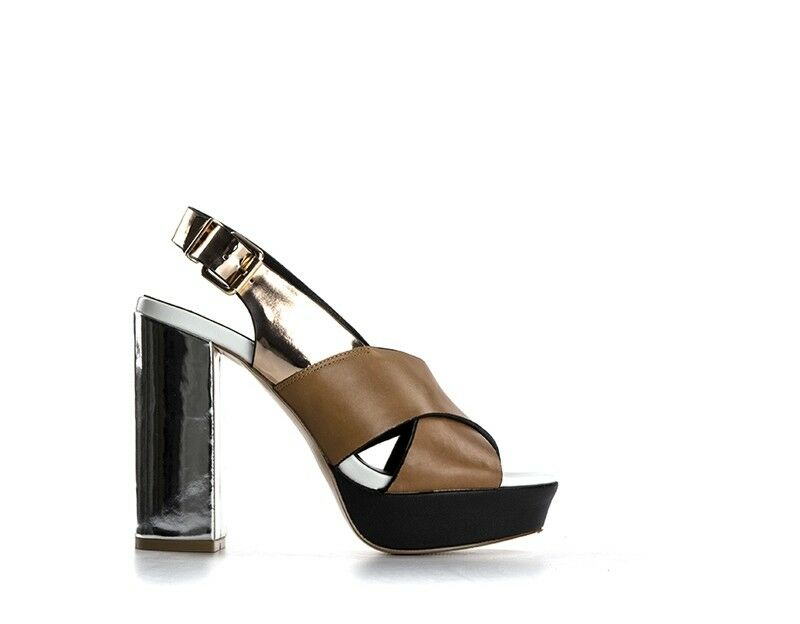 shoes Emanuelle Vee woman brown natural leather, PU 461-10411864A-CU