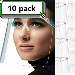 ✅10 SET Lot Pack Piece Face Shield Guard Safety Protection With Glasses Reusable