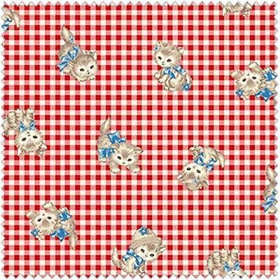 Quilt Gate USA Pocket Kitten QUGLW 1907 11E Red Plaid Kitten Toss Cotton Fabric