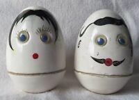 Vintage DaVar Humpty Dumpty Salt Pepper Shakers Anthropomorphic Japan Ceramic