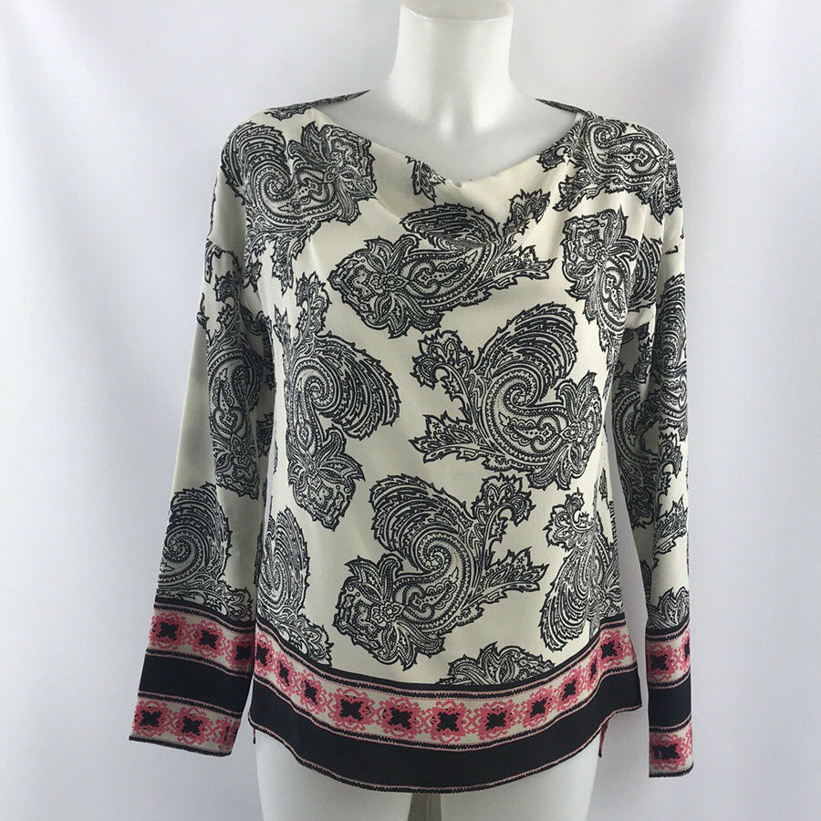 Etro Ivory schwarz And Rosa Print Long Sleeve Blouse Größe 38 2