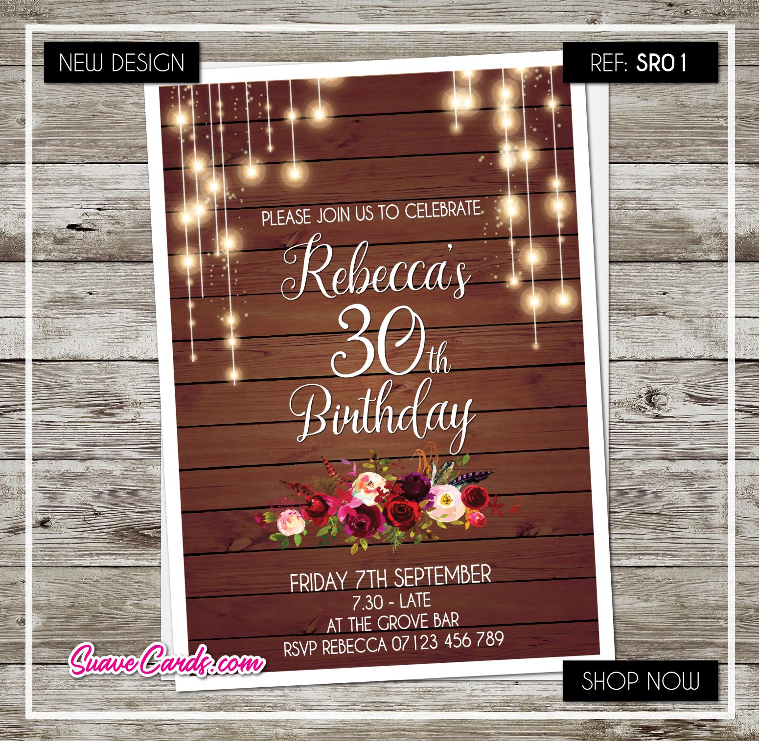 String Lights 40th Anniversaire Invitations Fête invite 21st 30th 50th 50th 30th 60th 7c8343
