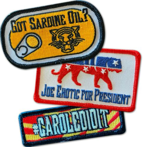 Carole Did It Tiger King Joe Exotic Got Sardine Oil Iron On Patches Funny USA
