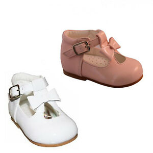 BABY TODDLER GIRL SPANISH STYLE PRETTY PATENT WHITE PINK T BAR WALKING SHOES 2-6