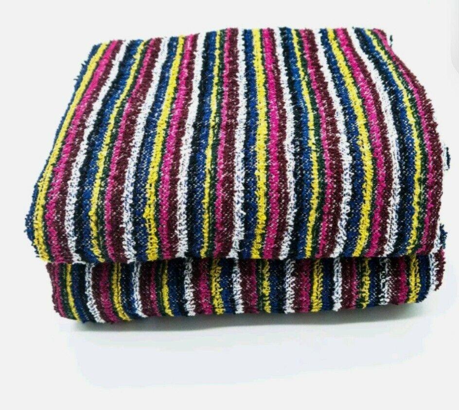 Eco FriendlyTowels Multi stripes Recycled Yarn Dyed Multi purpose 2pcs pack