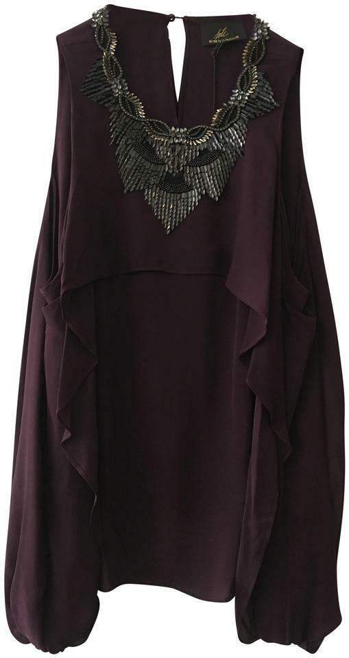 Kobi Halperin Open Shoulder Silk lila Top 8 (M) Medium New NWT