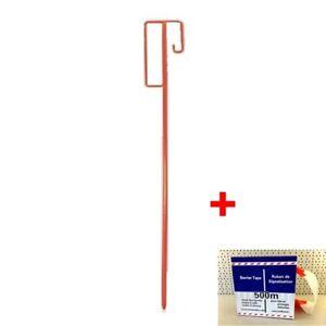 5 Stück Absperrleinenhalter Leinenhalter Laterneneisen Absperrhalter rot UVV