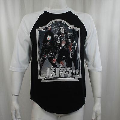 Authentic KISS Glitter '76 Band Photo Baseball Raglan T-Shirt S M L XL 2XL NEW