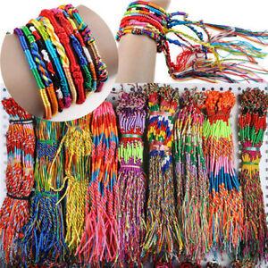 Colorful-10-100Pcs-Woven-Handmade-Braid-Strands-Cuff-Friendship-Cord-Bracelets