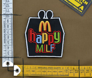 Ricamata-Embroidered-Patch-034-Happy-Milf-034-with-VELCRO-brand-hook