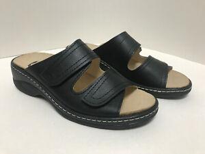 Lueger Bequem Damen Klett Pantolette mit herausnehmbarem Fußbett Schwarz 43840