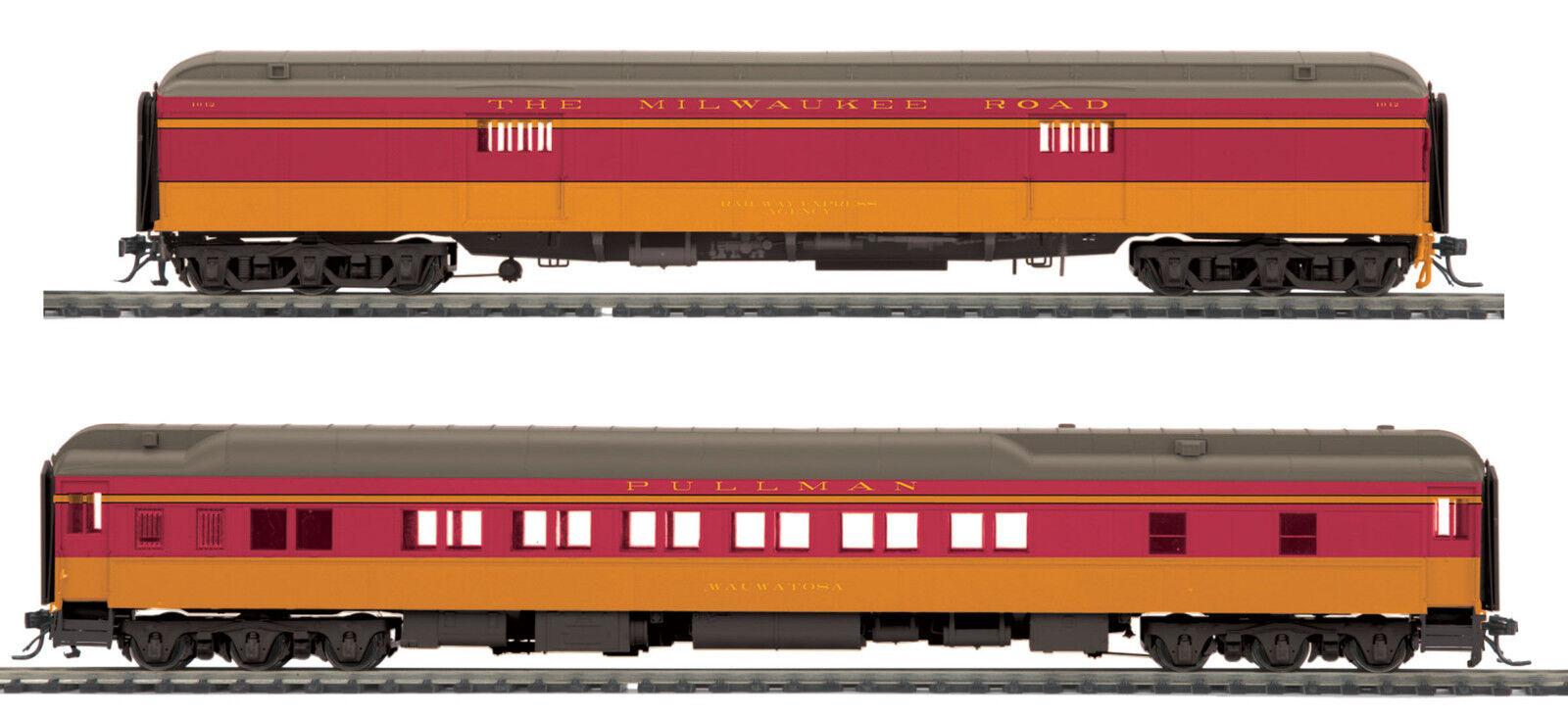 Ho Mth Milwaukee Road 2 coche pasajeros Set para 2 Riel de peso pesado de la pista 80-40011