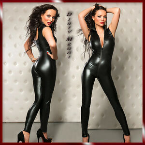 WETLOOK-Catsuit-Overall-Anzug-Clubwear-Party-BODY-GOGO-Groesse-S-M-36-38