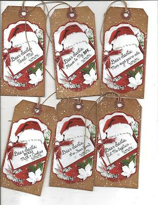 12 PRIMITIVE TAGS~Christmas Primitive!~HANG TAGS~Text Santa!