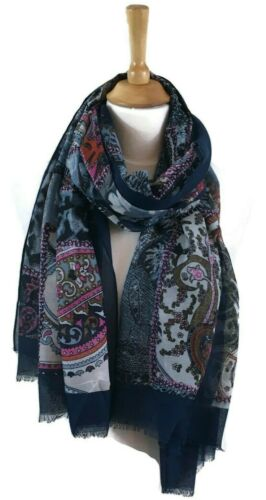 Paisley /& Animal Print Scarf Pashmina Wrap Navy Blue Pink  Beautiful Quality