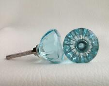 Antique Vintage Style Aqua Glass Cabinet Knob Drawer Pull 1¼ Inch Seconds