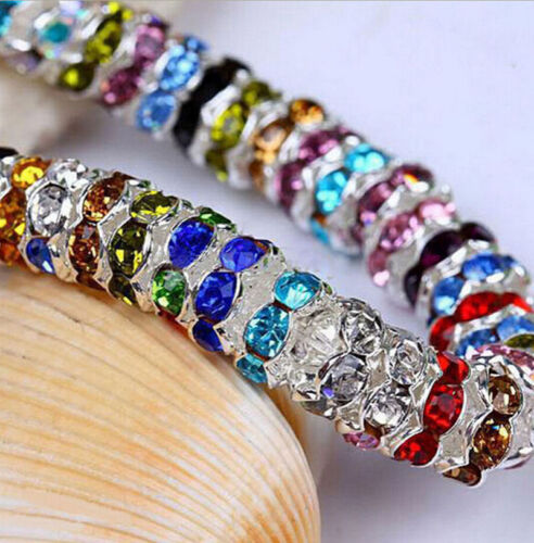 100Pcs Silver Plated Czech Crystal Glass Spacer Rondelle Charm Loose Beads 8mm