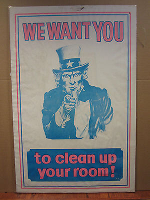 N//M WE WANT YOU TO CLEAN YOUR ROOM BOYS 1970/'s VINTAGE NOS POSTER Uncle Sam