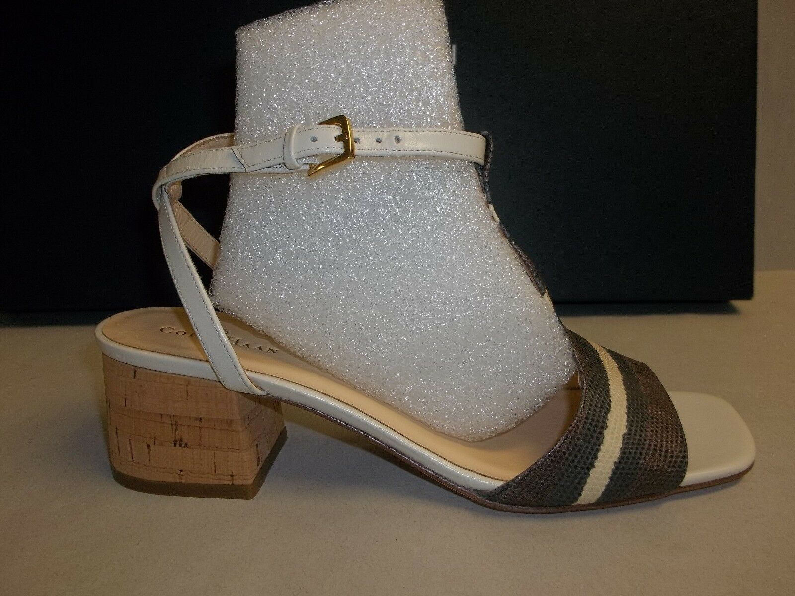 Cole Haan Size 6.5 M LUCI LOW Striped Chesnut Leather Sandals New Donna Shoes