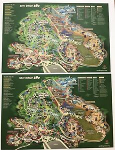 Details about World Famous San Diego Zoo Maps California CA Attractions  Shopping Food Set Of 2
