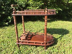Vintage-Wood-Rolling-Bar-Wooden-Serving-Cart
