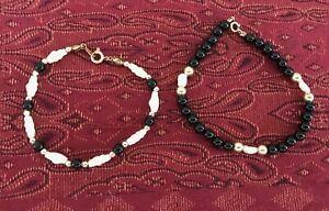 Vintage-Pearl-amp-Bead-Bracelets-14-karat-Gold-Filled-Set-Of-Three
