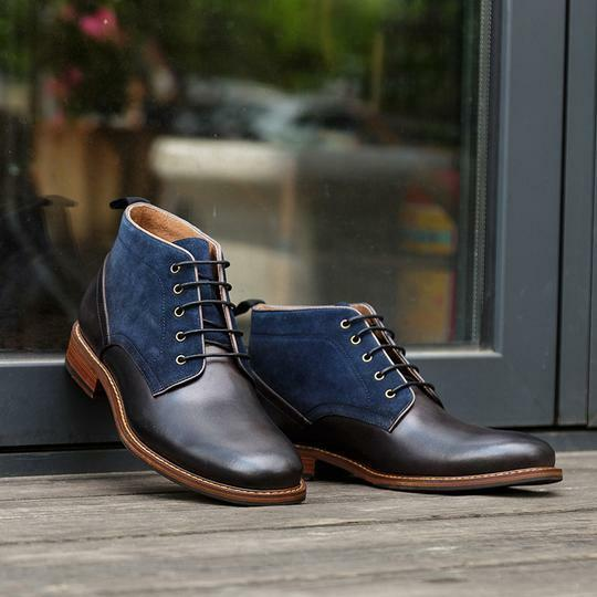 Handmade Uomo Two tone Chukka boots, Uomo casual ankle boots, Uomo ankle boots