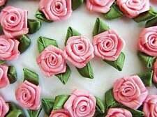 "144 Pre-Made Mauve Pink 1"" Satin Ribbon Flower Rose/Leaf Applique/Trim.Craft F39"