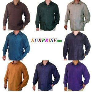 """New 100/% Silk Shirts for Men S,M Brand Name /""""SURPRISE/"""" NWT Brown"""